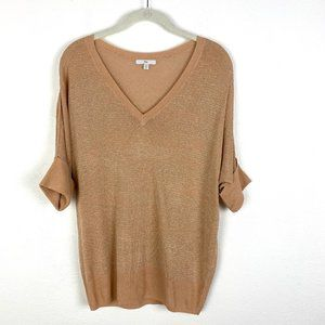 Gap Dolman sleeve metallic sweater knit top V-neck